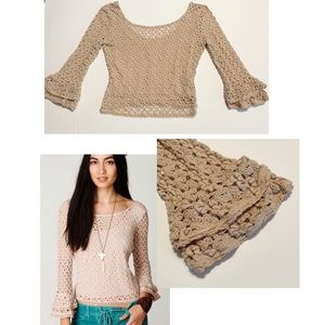 Free People Crochet Bell Sleeve Natural Top Size S